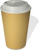 För avhämtning kaffekopp med ett lock på vit Arkivfoton