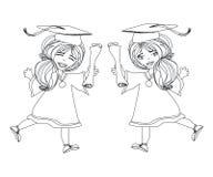 För avläggande av examendag för flicka le fira diplom för innehav Royaltyfri Bild