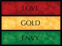 För avundfärg för förälskelse guld- bakgrunder eller ferie för vektor stock illustrationer