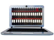 För bärbar datorskärm 3d för mappar digital online-tolkning Arkivfoton