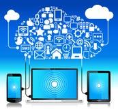 för bärbar datortelefon för anslutning global tablet Royaltyfri Bild