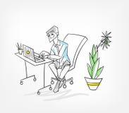 För bärbar datorvektor för arbete i regeringsställning man för illustration royaltyfri illustrationer