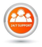 24/7 för börjanapelsin för service (symbol för kundomsorglag) knapp för runda Fotografering för Bildbyråer