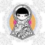 För Babushka Matryoshka för vektor geometrisk gullig bakgrund docka royaltyfria bilder