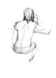 för back kvinna där Stock Illustrationer