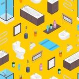 För badrum- och wctoalettmöblemang för vektor isometrisk tubespattern värmeapparat för beståndsdelar, toalettbunke, spegel och sk Royaltyfri Bild