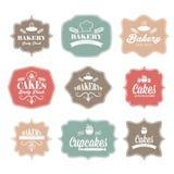 för bagerilogo för tappning retro etiketter Royaltyfria Bilder