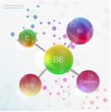 För bakgrundsbegrepp för serum och för vitamin blå skönhetsmedel för omsorg för hud kalcier b1, b2, b6, b12, A, C, D, Fotografering för Bildbyråer