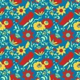 För bakgrundsblommor för tappning blått för modell för blom- stil för folkkonst färgar sagolika etniska klotter och Paisley turkg Royaltyfria Foton