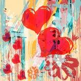 För bakgrundsgrafitti för hjärta abstrakt psykedelisk textur för grunge royaltyfri illustrationer