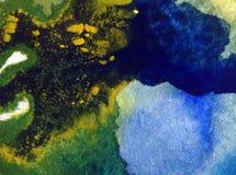 För bakgrundshav för vattenfärg tapet för fläck för överflöd för hand för garnering för abstrakt värld undervattens- ljus suddig  Royaltyfria Foton
