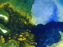 För bakgrundshav för vattenfärg tapet för fläck för överflöd för hand för garnering för abstrakt värld undervattens- ljus suddig  Arkivbild
