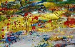 För bakgrundsmålarfärg för röd målarfärg guld- fläckar för vattenfärg Fotografering för Bildbyråer