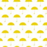 För bakgrundsmodell för gula paraplyer sömlös illustration för vektor royaltyfri illustrationer