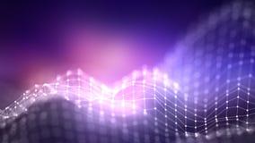 för bakgrundsnätverk för abstrakt begrepp 3d begrepp Framtida bakgrundsteknologiillustration liggande 3d Stora data Wireframe Royaltyfri Foto