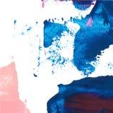 För bakgrundstextur för vektor som abstrakt hand för slaglängd för borste målas med akrylmålarfärg, blått och rosa färger på vit Royaltyfria Bilder