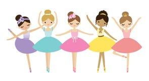 För ballerinavektor för gullig dans liten illustration stock illustrationer