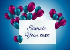 För ballongkort för färg glansig illustration för vektor Arkivfoton