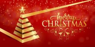 För bandxmas för glad jul utsmyckat lyxigt guld- träd, guld- stjärna i plan stil stock illustrationer