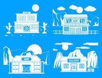 För banerbegrepp för salong lös västra uppsättning, enkel stil stock illustrationer