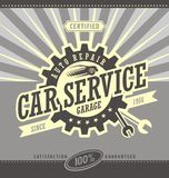 För banerdesign för bil tjänste- retro begrepp Arkivbild