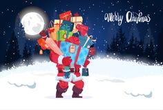 För banerSanta Holding Heap Of Gifts för glad jul vinter Forest Landscape för natt för kort för hälsning ferie royaltyfri illustrationer