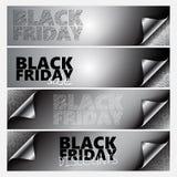 För banersida för 4 Black Friday uppsättning för hörn Royaltyfri Fotografi