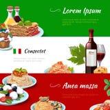 För banervektor för italiensk mat horisontaluppsättning stock illustrationer