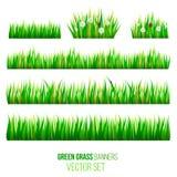 För banervektor för grönt gräs uppsättning Arkivbild