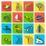 För banhoppning, för hoppa fallskärm och annan för motorcykel sportar för springa, för utförsåkning, Fastställda samlingssymboler Arkivfoton
