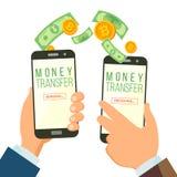 För bankrörelsebegrepp för mobila pengar överförande vektor holdingen för bakgrundsgrupphanden bemärker smartphone Dollar och bit stock illustrationer