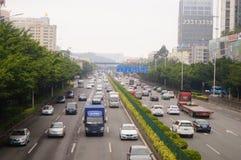 För Baoan Shenzhen 107 för nationell huvudväg landskap för trafik avsnitt Fotografering för Bildbyråer
