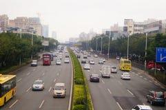 För Baoan Shenzhen 107 för nationell huvudväg landskap för trafik avsnitt Royaltyfria Foton