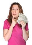 För barn kvinna thoughtfully med pengar Royaltyfri Bild