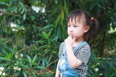 För barnleendet för den lyckliga upphetsade glade flickan har det gulliga skrattet gyckel på sommar att parkera funderare för nat royaltyfri bild