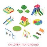 För barnlekplats för plan isometrisk stil 3d modern uppsättning för symbol Royaltyfri Fotografi