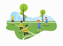 För barnmästerskap för vektor plant fält för fotboll vektor illustrationer