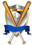 för baseballillustration för 2 baner sköld Royaltyfri Bild