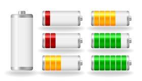 För batterifullständighet för vektor glansig indikator Royaltyfri Bild