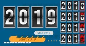 För begreppsmall för lyckligt nytt år tidmätare för nedräkning för räknare parallell, retro flipnummerräknare från 2018 till 2019 vektor illustrationer
