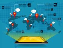 För begreppsmateriel för global kommunikation vektor Stock Illustrationer