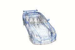 för begreppsmodell för bil 3d modernt projekt Arkivfoto