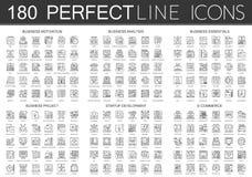 180 för begreppssymboler för översikt mini- symboler av affärsmotivationen, affärsanalys, affärsväsentlighet, affärsprojekt royaltyfri illustrationer