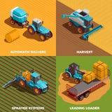 För begreppssymboler för jordbruks- maskiner isometrisk uppsättning vektor illustrationer