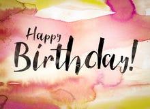 För begreppsvattenfärg för lycklig födelsedag tema Royaltyfria Foton