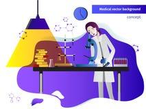 För begreppsvektor för vetenskap plan illustration Medicin kemikalie och royaltyfri illustrationer