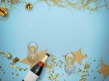 för berömchampagne för bakgrund nytt s år för bäst helgdagsafton Guld- stil semestrar bakgrund Royaltyfri Fotografi