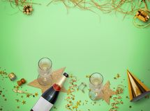 för berömchampagne för bakgrund nytt s år för bäst helgdagsafton Guld- stil semestrar bakgrund Royaltyfria Foton