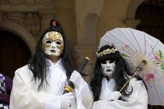 för berömd traditionell venezia venice italy för karnevalgarnering maskering Royaltyfri Fotografi