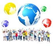 För berömgemenskap för globala kommunikationer begrepp Arkivfoton
